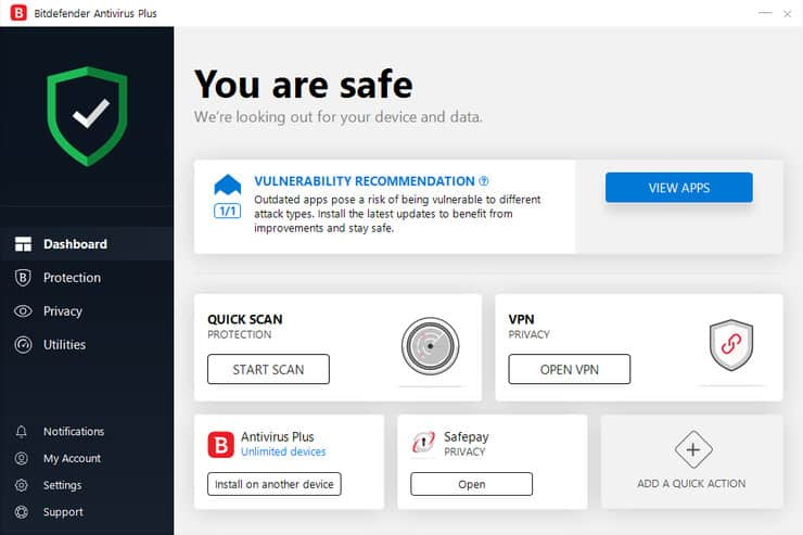 Illustration or Bitdefender Antivirus Main Window Dashboard