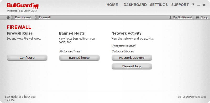Illustration of Bullguard Antivirus Dashboard,Firewall section