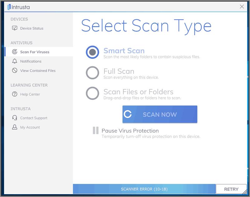 Image of Intrusta Antivirus Software scan types