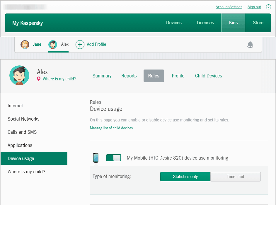 Image of Kaspersky Antivirus Software Device Usage Section