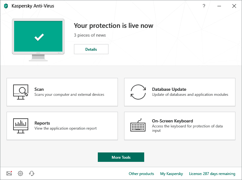 Image of Kaspersky Antivirus Software Tools Section