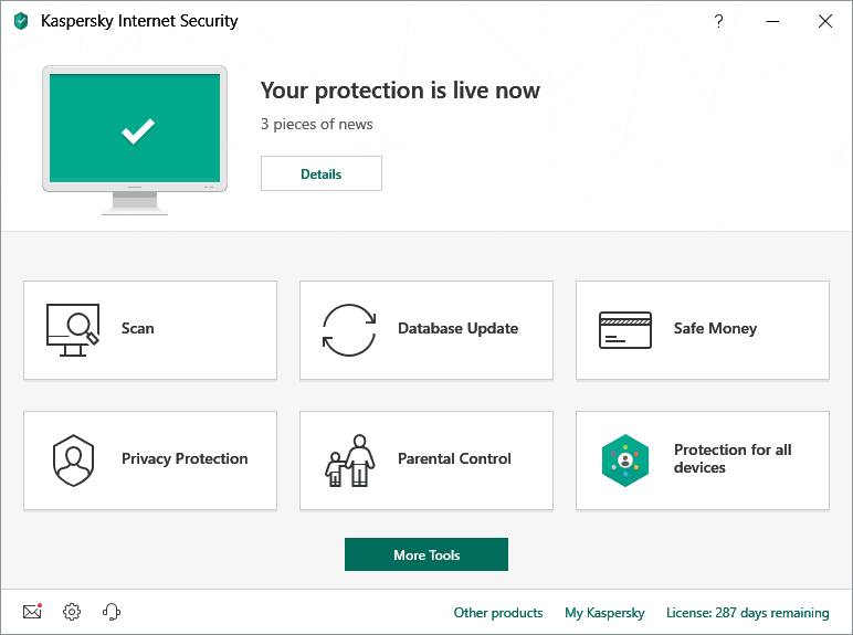 Image of Kaspersky Antivirus Internet Security Section