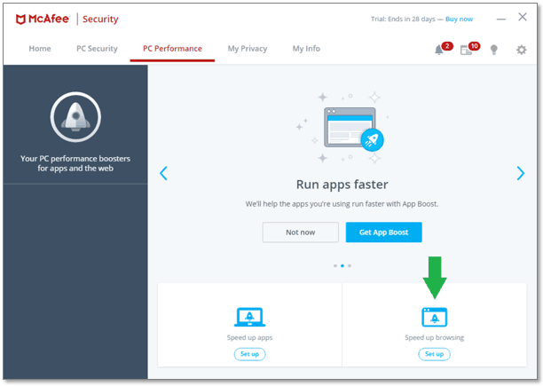 Image of McAfee Antivirus Software PC Boost control center