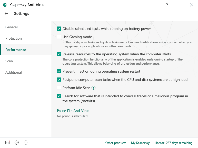 Image of Kaspersky Antivirus Software settings,performance section