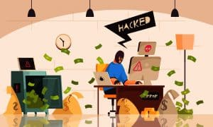 man hacking a personal account and stealing all the money