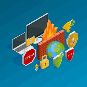 Internet security concept with antivirus software and hacking