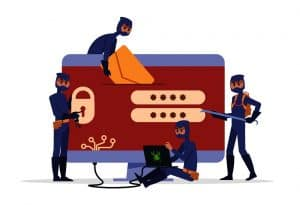 Hackers and fake antivirus software concept