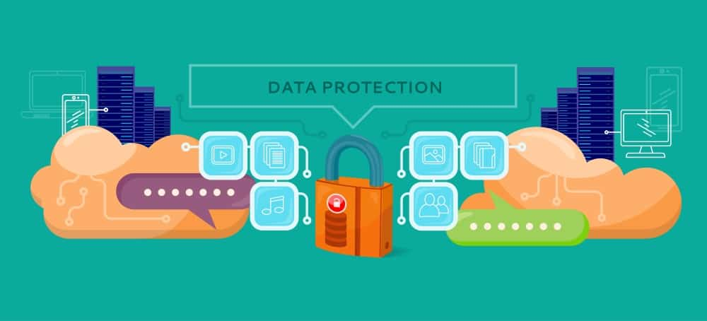 Illustration of data protection and web security concept