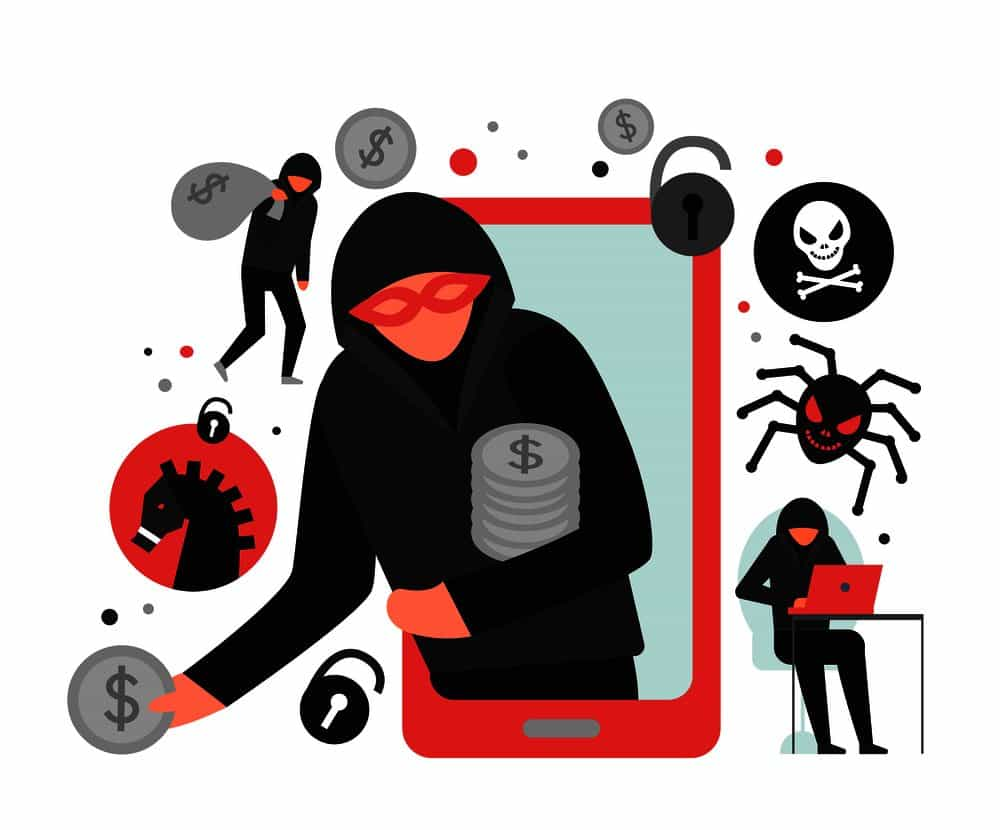 Illustration of mobile phone virus