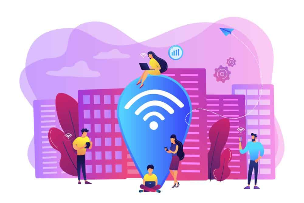 illustration of unsecured wi fi hotspot concept